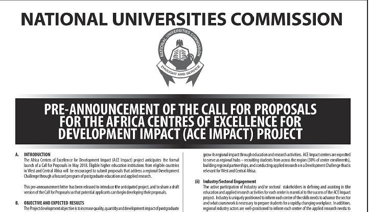 Call for Proposals for the Africa Centers of Excellence for Development and Impact (ACE IMPACT)Project